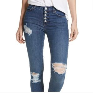 Free People Button Fly High Waisted Skinny Jean